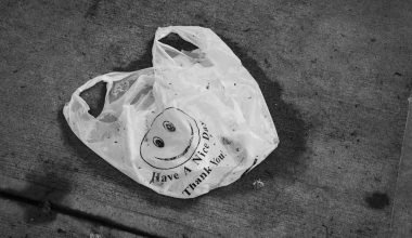 Plastic bag litter decomposing on streets