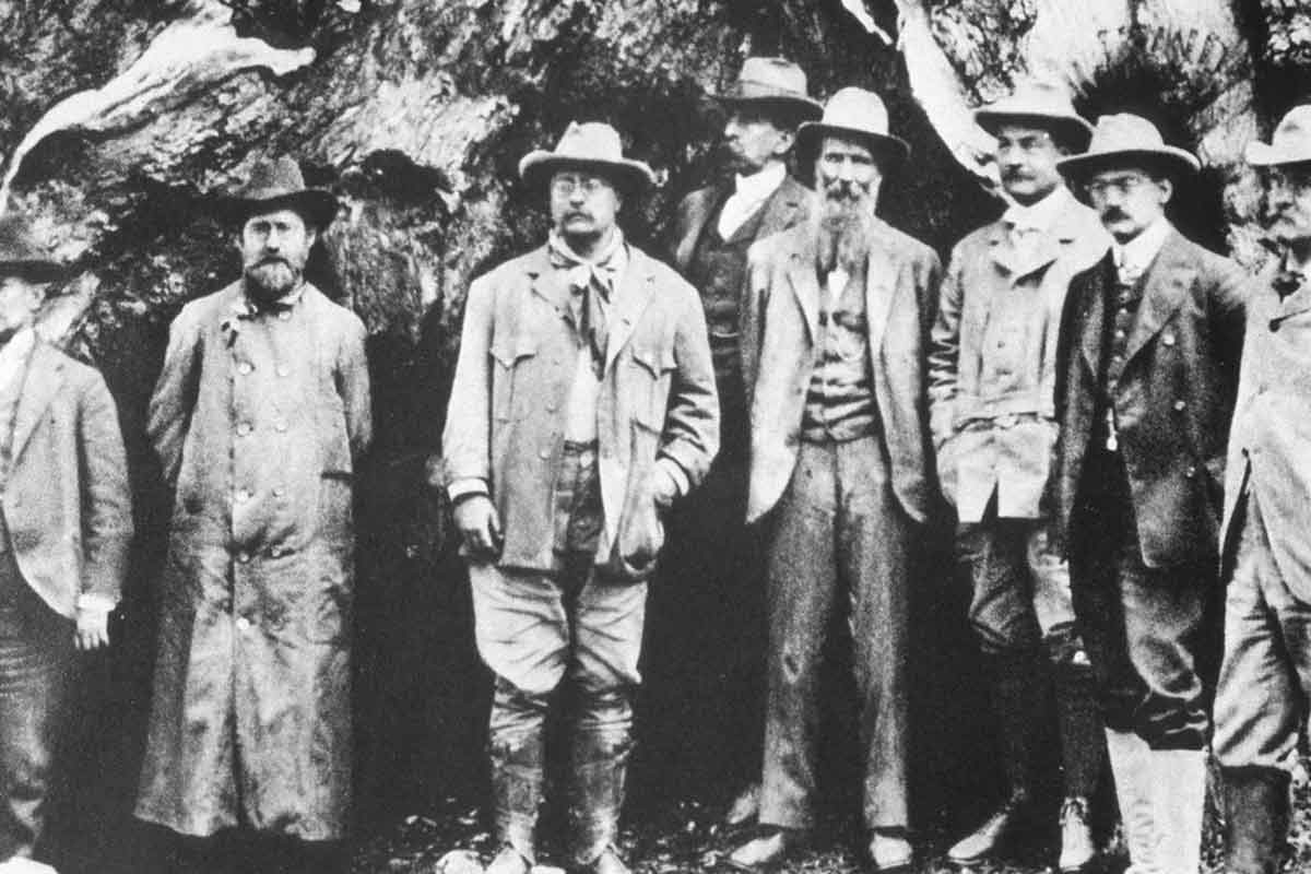 Teddy Roosevelt (Center) with John Muir (on his left)